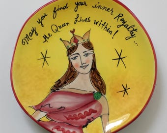 Hand Painted Plate QUEEN Art