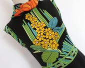SALE:)) MIDNIGHT FLOWERS . Superb Art Deco Border Print Maxi Dress Jersey Fab Colors 70s S M