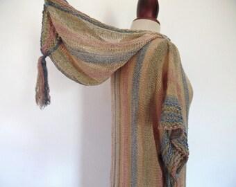 MARY FARRIN . The Elf Girl . Iconic Knit Mini Dress 60s 1960s Hood Hooded Fairy Tale Victorian Edwardian Medieval Tassle Fringe Sheer Size S