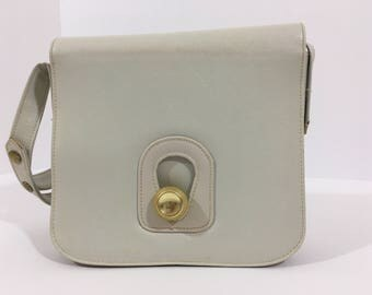 Mid Century Modern, vintage, white leather purse
