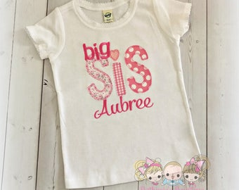Pink Big Sister Shirt - Big Sister Outfit - personalized big sister shirt- pink fabric prints - big sister to be- embroidered big sis shirt