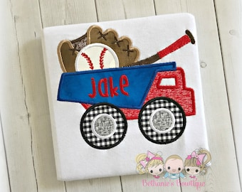 Baseball dump truck shirt- baseball themed truck - embroidered baseball dump truck shirt - personalized boys sports dump truck shirt