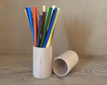 Wooden Pencil Holders / set of 10 / Desk Organizer / Wood Pencil Holder / Office Decor