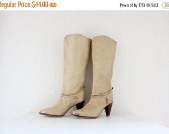 ON SALE Vintage 70's Zodiac Blonde Leather Boots Sz 7.5N - S A L E -See Details