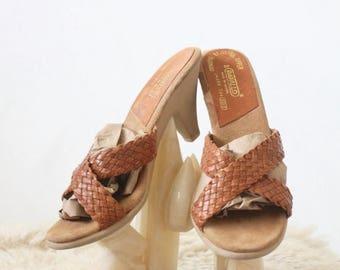 ON SALE Vintage Caramel Braided Leather Sandals 6