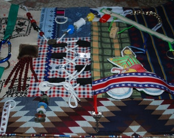 Fidget Quilt for Dementia, Alzheimer's and others.Busy blanket/activity blanket/mens quilt
