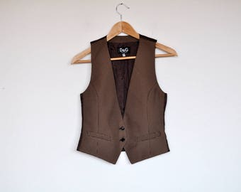 Vintage Dolce & Gabbana Vest Houndstooth Tan and Brown Waistcoat