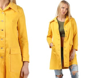 Retro Trench Coat 70s Vintage Yellow Pea Duster Coat Long Jacket Womens A - line Topcoat Overcoat 1970s Retro Rain Coat Outerwear Medium