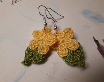 Yellow Crochet Flower Earrings. Handmade Crochet Flower Earrings.