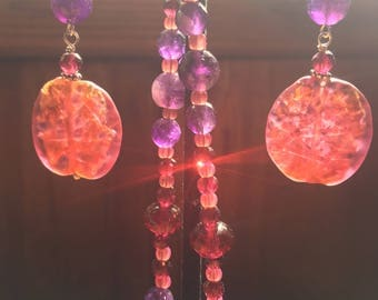 Italian foil glass bead earrings with faceted garnets, Amethyst and sterling