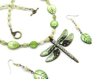 Green Dragonfly Pendant, Beaded Necklace and Earrings Set, Leaves, Nature, Women's Jewelry Set, Woodland Jewelry, Statement Jewelry