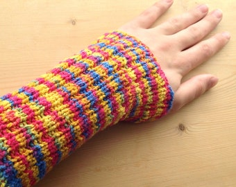 S PICC Line / IV Cover (Armband) red, blue, yellow, primary, rainbow, picc cover, intravenous, chemo, lyme, TPN, hand knit, cotton, soft