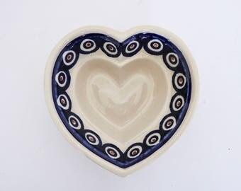 Boleslawiec Polish Pottery Heart Bowl