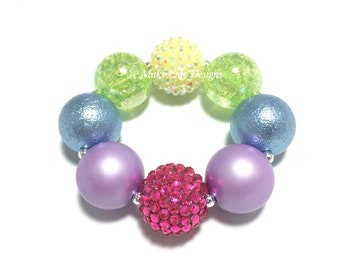 Toddler or Girls Pink Rainbow Chunky bracelet - Hot Pink, Purple, Blue, Lime Green and Yellow Bracelet - Spring Rainbow Chunky Necklace