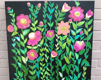 Hand painted Flowers and Vines on Canvas  - Valentine Gift - Mother's Day