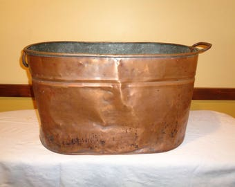 LARGE Antique Copper Vat with wonderful well developed patina in Vintage Condition that was used to hold firewood and pinecones for years