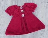 Dark Red Baby Cardigan, Hand Knit Newborn Jacket, Handmade Sweater for 0-3 Months Old Baby, Leaf Pattern, Skin Friendly Knitted Baby Sweater