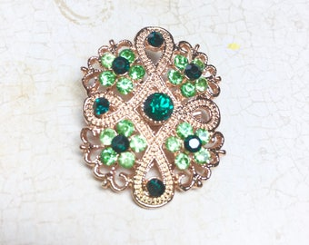 Vintage Brooch, Emerald Green and LIght Green Rhinestone Brooch, Gold Tone Filigree, 1950's