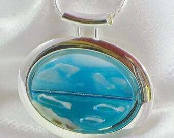 TRANQUILITY BEACH silver bezel fused glass jewelry pendant with necklace