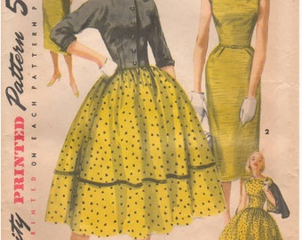 1955 - Simplicity 1412 Vintage Sewing Pattern Size 11 Bust 29 Simple To Make Dress Jacket Suit Pleats Kimono Sleeves Slim Full Skirt