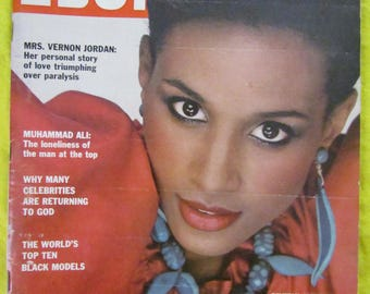 July 1980 EBONY MAGAZINE---Beverly Johnson Black Model Cover