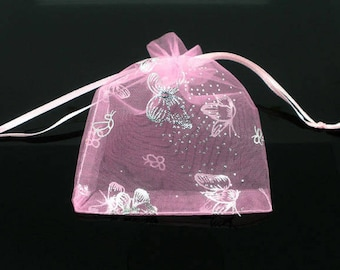 "25 Organza Bags Pink with Butterflies - 9X7cm - 3 1/2"" X 2 1/2"" - Ships IMMEDIATELY  from California - BAG56-25"