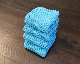 4 Hand Knitted Dish Cloths, Hot Blue Dish Rags, 100% Cotton, Kitchen Wash Cloths, washcloths, dishcloths, Sugar'n Cream yarn