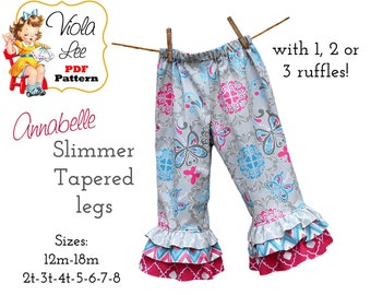 Annabelle Toddler Pants Pattern pdf, Baby Ruffle Pants Pattern. Capris Pattern. Girl's Sewing Pattern Slimmer fit with tapered legs Download