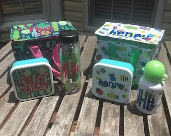 Personalized Monogram Lunch Box Water Bottle Sandwich Set