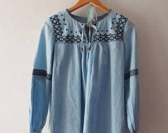 Mid Year SALE Vintage Denim Top Boho Bohemian Mini Dress