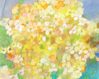 """Abstract Floral Painting, Cheerful Yellow Flowers, Buttercups """"Butter Faces"""" 20x20"""""""