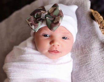 First Bow Newborn Hospital Hat Camo  Bow(newborn girl hat, newborn beanie, newborn hospital hat with bow, first bow)