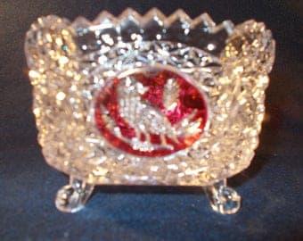 Hungarian Crystal Bowl With Bird