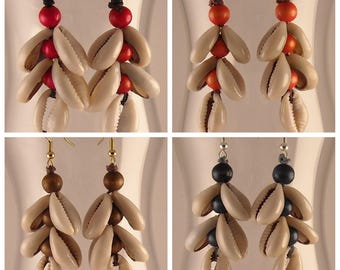 Afrocentric Cowrie Shells African Earrings Tribal Earrings African Jewelry Ethnic Earrings Boho Earrings Boho Jewelry Unique Handmade