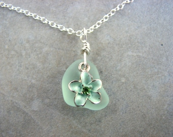 Tropical Sea Glass Necklace, Seafoam Green Seaglass and Flower Pendant Jewelry, Ocean Jewelry, Beach Bride Necklace, Sterling Silver