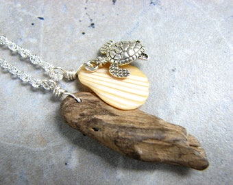 Ocean Driftwood Jewelry, Beach Theme Necklace with Sea Turtle, Sea Shell and Natural Driftwood, Boho, Rustic Necklace