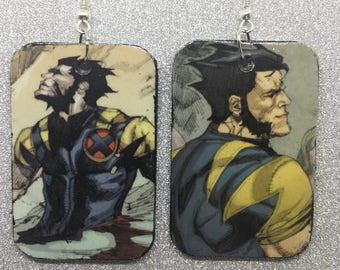 Upcycled Wolverine Comic Book Earrings