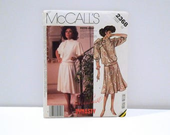 Dynasty Diahann Carroll McCalls 2368 Vintage 1980s Blouson Top with Bow Flared Skirt Two Piece Dress Never Used Sewing Pattern Size 12