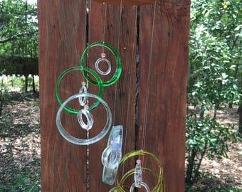 green, sea foam, yellow, GLASS WINDCHIMES from RECYCLED bottles,  garden decor, wind chimes, mobiles, windchimes