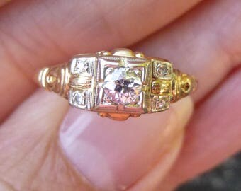 ART DECO Antique 14KT white and yellow gold  20 points  VS2 E color  Old European Cut Diamond Engagment Ring