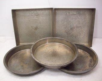 Vintage Bake King Square Textured Cake Pan (2) & Round Pan (3)