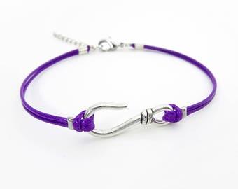 Silver Hook Bracelet or Anklet, Purple Bracelet,  Hook Jewelry, Waxed Cord Bracelet, Fish Hook Bracelet, Nautical Bracelet