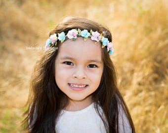 The Maia - Light Pink Yellow Aqua Gold Floral Crown - Floral Halo Floral Boho Headband Weddings Newborn Photo Prop Shabby Chic