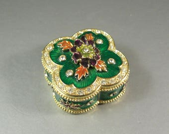 Cloisonne Enamel Rhinestone Hinged Trinket Pill Box / Flower Bouquet
