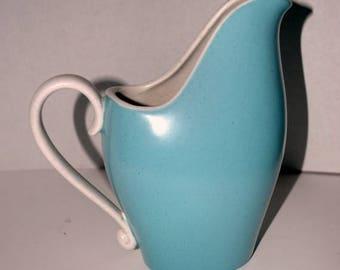 weekend sale vintage  Metlox   turquoise and creme pitcher mid century modern