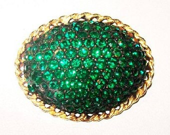 "Green Rhinestone Brooch Pin Domed Oval Gold Trim 1 3/4"" Vintage High End"