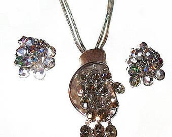 Waterfall Necklace Earring Set Aurora Borealis & Smoke Rhinestones Silver Metal Vintage