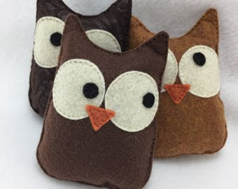 Owl Felt Cat Toy with Organic Catnip Hand Stitched Owl Bird Stuffed Kitty Toy with Rattle Noisemaker Option