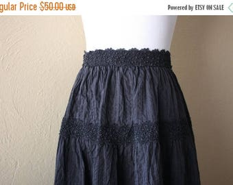 Clearance Sale Vintage Mexican Peasant Style Black Skirt