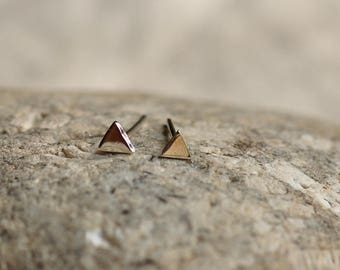 Sterling silver organic mini triangle earrings